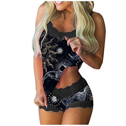 Daodan Pyjama Set Damen Nachtwäsche,Kurz Schlafanzug mit Shorts, Valentinstag Nachtwäsche Set Zweiteilige Nachthemd Sexy Kleider für Frauen Spitzen Unterwäsche Kostüm Minirock Sleepwear
