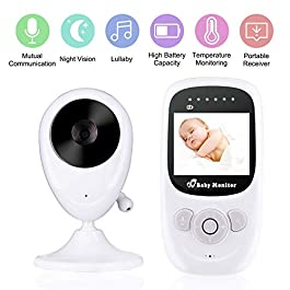 Baby Monitor, VIBOOS 2.4″ LCD Video Baby Monitor with Digital Camera, Night Vision, Two-Way Audio, Temperature Sensor, Lullabies, Wide Range and Long Battery Life