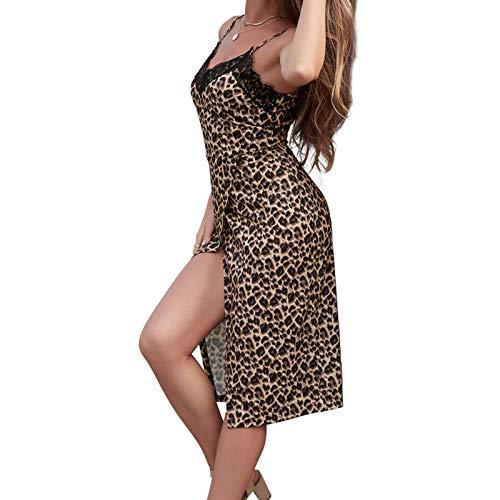 happygirr Vestido de leopardo para mujer, semitransparente, cuello en V, sin mangas, para viajes de negocios, senderismo