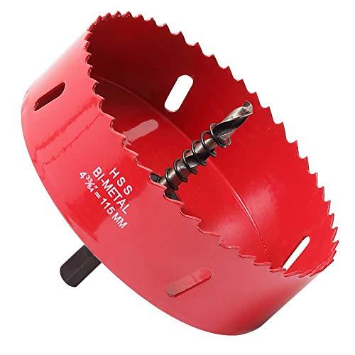 Scie cloche 115 mm, acier rapide HSS M42 bi-métal, fraise à trous avec tige hexagonale et foret pour bois, cloison sèche et tôle métallique, 1 pièce, rouge