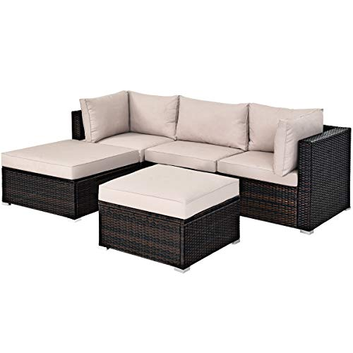 Tangkula 5 PCS Patio Rattan Furniture Set, Outdoor Sectional Rattan Sofa Set with Soft Cushions, Wicker Conversation Set with Sofa Ottoman for Backyard Porch Garden Poolside Balcony (Brown)