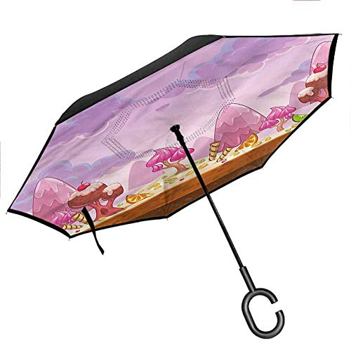 Anyangeight Baby Umbrellas for Women with UV Protection Diamond Shape Bunny Heart for Car/Rain/Sun Windproof UPF50+ Big Straight Umbrella, 42.5'x31.5'Inch