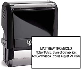 Connecticut Rectangle Notary Stamp -CT Official Notary Stamp - Enter Custom Text