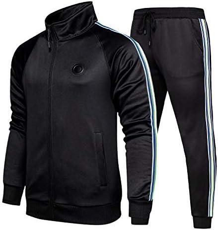 TOLOER Men s Activewear Full Zip Warm Tracksuit Sports Set Casual Sweat Suit Black Large product image