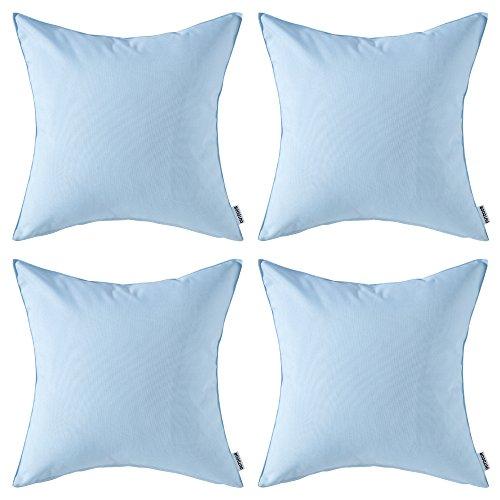 MIULEE Packung von 4 wasserdichte Sofa Kissenbezug Kissenhülle im freien Set Kissen Fall für Sofa Schlafzimmer 18x18 Zoll 45x45 cm Hellblau