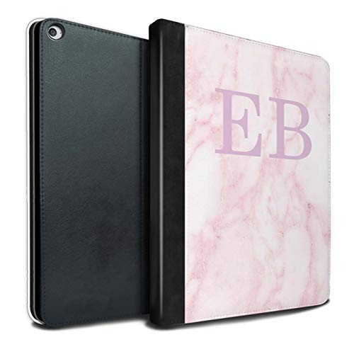 Personalised Tablet Case for Apple iPad Pro 12.9 2015/1st Gen Pink Marble Fashion Pink Stamp Flip Faux Book PU Leather Cover