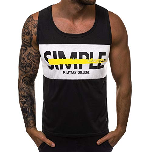 Btruely Tank Top Herren Sport Gym Tankshirt Rundhals Weste Drucke Tanktop Bodybuilding T-Shirt Fitness Sportshirt Sommer Unterhemden Muskelshirt Kurzarm