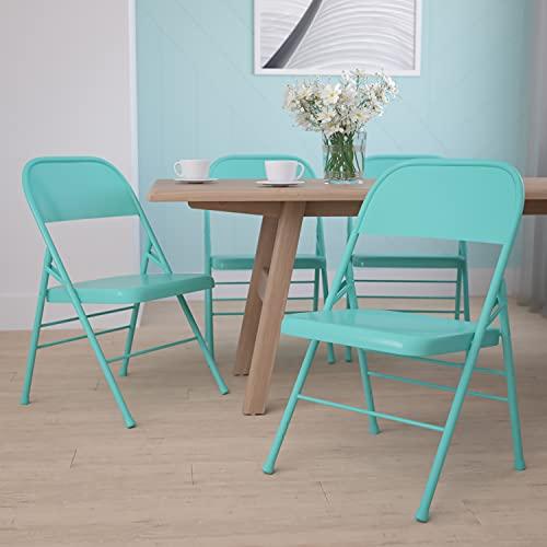 EMMA + OLIVER 4 Pack Colorful Tantalizing Teal Triple Braced Metal Folding Chair