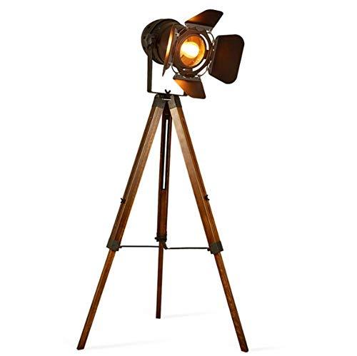 Raelf Lámpara de pie, trípode de la vendimia diseño de teatro de la etapa de la etapa de la luz del piso, haga la antigua lámpara permanente de madera de madera negra de madera para la sala de estar d