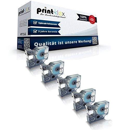 5x Kompatible Schriftbänder für Dymo D1 40913 Labelwriter 400 Duo 1000Plus 2000 3500 5500 Pocket 420 P S0720980 9 mm 9mm Black/White Etikettenband - Color Pro Serie