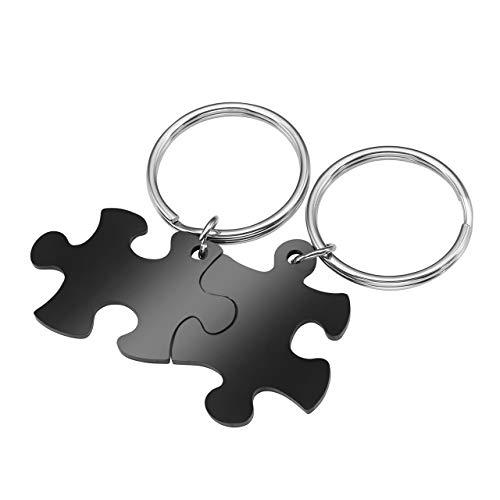 Zysta 2 PCS Portachiavi in Acciaio Inossidabile con Ciondolo Puzzle Personalizzato per Coppia Lovers Regalo di Natale per Uomo Donna -Nero DIY
