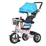GST Triciclos Tricycle Trike Cochecito de bebé Triciclo de niños de Acero Altamente Carbono Carro de bebé Carretilla de bebé Push Bicicleta Niño Carrera de bebé autopropulsado Cochecito/D (Color : A)