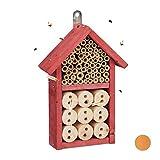 Relaxdays, Rosso Casetta Assemblare, Rifugio per Coccinelle, api Selvatiche e crisope, DIY...