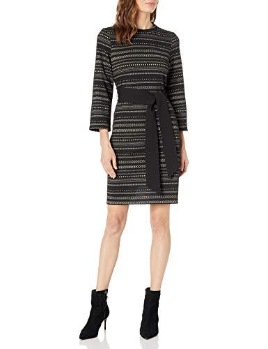 NINE WEST Women's Belted Flare Skirt Dress, Black Multi, 2