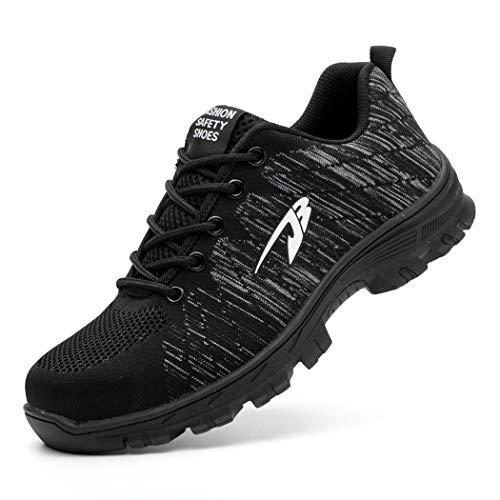 Zapatos de Seguridad Hombre Mujer Ligero Calzado de Trabajo Zapatillas con Punta Acero Industrial y Deportiva Transpirable Seguridad Cómodas Antideslizante Anti Aplastamiento Black37