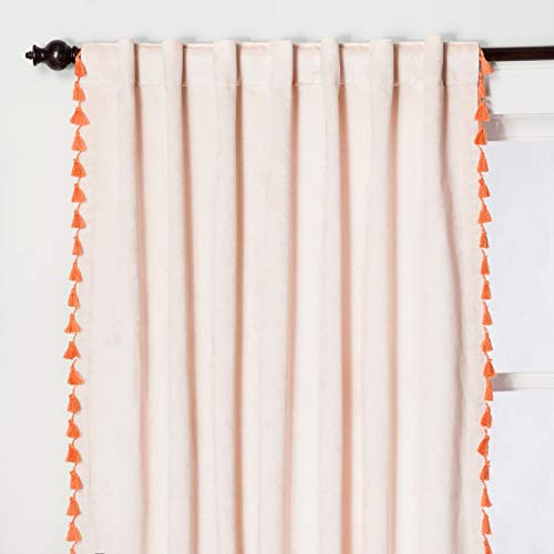 "Opalhouse Velvet Curtain Panel with Tassels - Blush Pink, 84"""