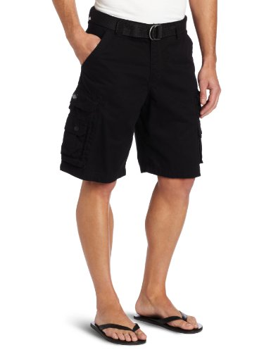 Lee Men's Big-Tall Dungarees Belted Wyoming Cargo Short, Black, 46
