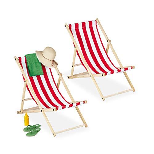 Relaxdays Liegestuhl, Juego de 2 Unidades, Madera, 3 Niveles, Tumbona Plegable Multicolor para balcón, jardín, 83 x 58 x 94 cm, Color Blanco y Rojo