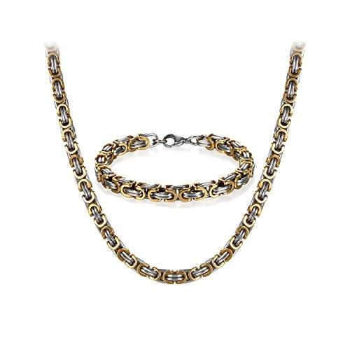 JewelryWe Schmuck Edelstahl Ketten Set von Halsketten und Armketten für Herren Gold Silber Armbändern 8mm breit und 21,5 cm für Armband, 24 Zoll für Halskette