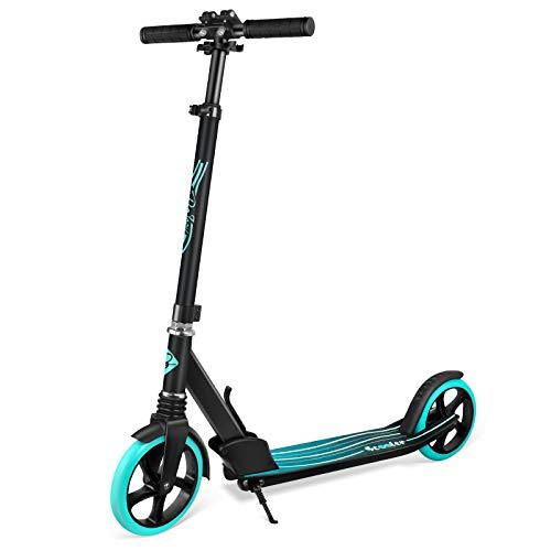 BELEEV Roller Erwachsene, Tretroller Kick Scooter mit 2 Rädern, Cityroller mit Federung, Schnellverschluss Klappbar System, 4 Höhenverstellbare, 200mm Große Räder Roller für Kinder Jugendliche (Aqua)