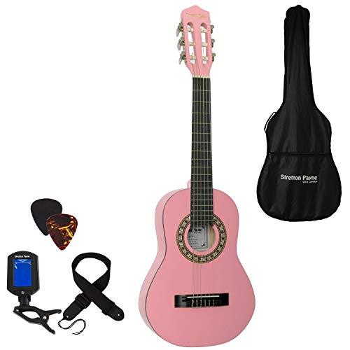 Stretton Payne Konzertgitarre für Kinder, Klassisches Gitarrenpaket, 1/4 Größe (31 Zoll), Alter 3 bis 6, Klassische Nylonsaiten-Kindergitarre im Paket, Rosa