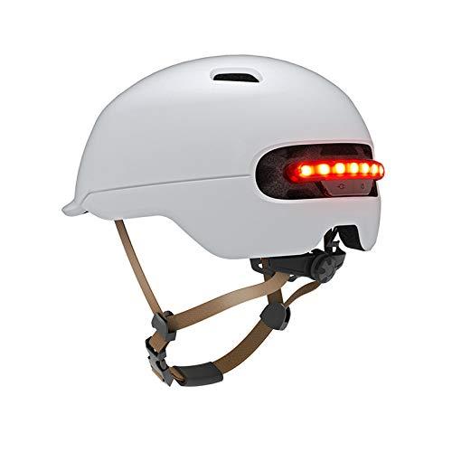 EnweKapu Casco Moto Modular,Helmet De La Bici del Casco del Viaje,Circunferencia De La Cabeza 22.04 Pulgadas ~ 23.62 Pulgadas,para Mujer Hombre Adultos,con Luz De Seguridad Led,Blanco