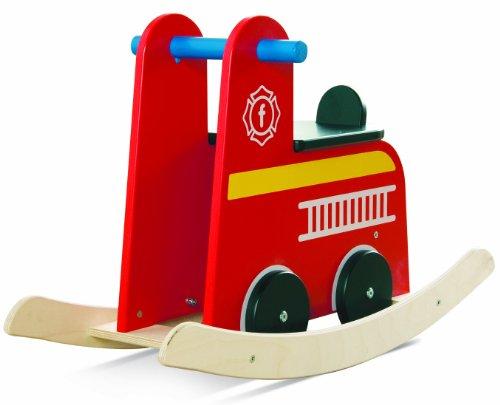 Millhouse brandweerauto houten pop (rood met gele strepen en zwarte stoel)