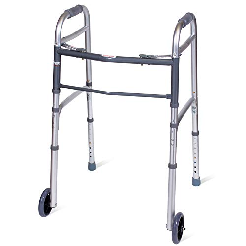 Carex Folding Walker for Seniors - Adult Walker With Wheels - Portable Medical Walker with Adjustable Height, 30-37 Inches