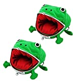 SUSHAFEN 2 Pcs Frog Coin Wallets Frog Coin Purse Headset Bag Cartoon Animal Wallet Coin Bag Coin Pouch Key Credit Card Holder Novelty Toy School Prize Gifts Christmas Gift