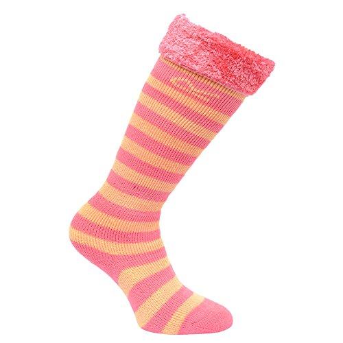 Regatta Great Outdoors Kinder Gummistiefel Socken mit Kunstfell (32-34EU / 13-2UK) (Pink/Lemon)