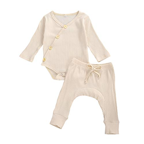 Newborn Unisex Baby Boy Girl Pajamas Long Sleeve Knitted Romper Bodysuit Top+Elastic Waist Pants 2PCS Ribbed Outfit Set (B-Apricot, 0-3 Months)