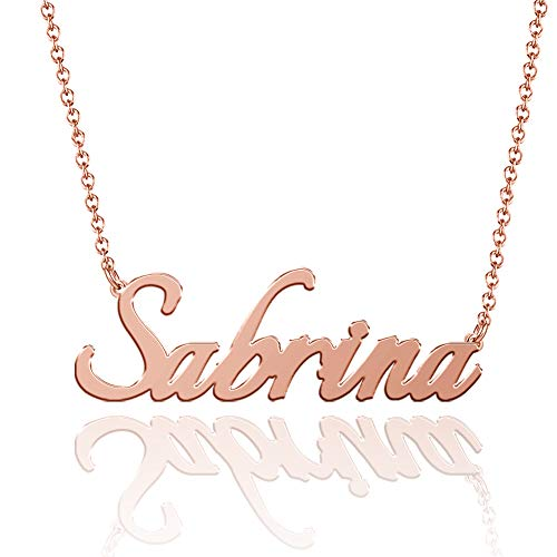 SOUFEEL Name Necklaces Pendant Personalized Necklace Custom Made Nameplate Gifts Copper Plated Silver, Rose Gold, 14K Gold for Her, Girls, Mother, Women, Men, Boys, Kids Sabrina - Rose Gold