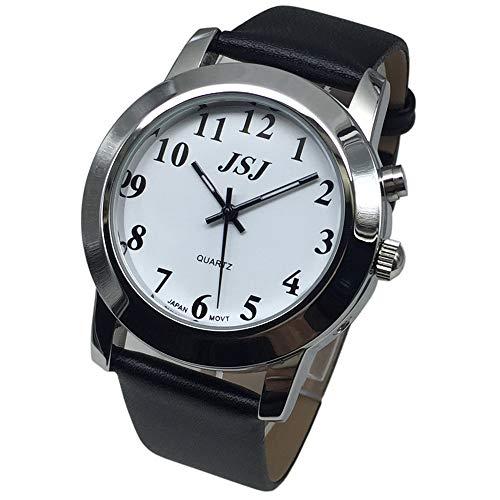 Sprechende Armbanduhr, analog, mit Alarm, Anzeige der Uhrzeit und Datum auf Französisch, für Blind- und Sehbehinderte, Armband aus Leder
