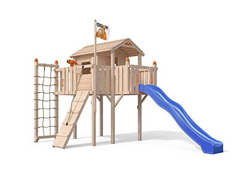 Oskar Terrizio XL-Spielturm Baumhaus mit Rutsche, Kletterrampe, Kletternetz und Spielhaus auf 1,50 Meter Podesthöhe (Blau)