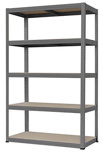 Hans Schourup 13501100 Weitspannregal mit 5 böden aus MDF, Traglast von bis zu 250 kg pro Boden, 180 cm x 120 cm x 60 cm, Grau