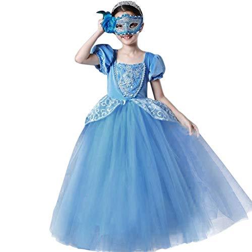 IWEMEK Mädchen Cinderella Kostüm Aschenputtel Prinzessin Kleid Tutu Tüll Maxikleid Kinder Karneval Verkleidung Halloween Festkleid Fasching Cosplay Partei Kostüm Blau 6-7 Jahre
