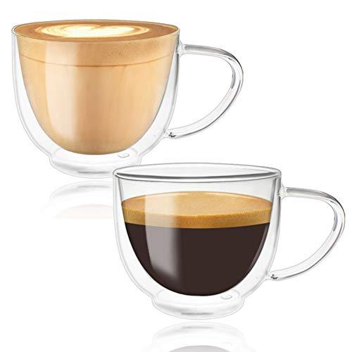 Doppelwandige kaffeegläser, Teetasse/Kaffeetasse mit Schwebeeffekt, Cappuccino Tassen Gläser Latte Macchiato Glaser Set 2-teiliges 220ml Trinkgläser Kaffeeglas