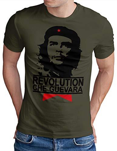 OM3® - Che Guevara - T-Shirt - Herren - Cuba Viva La Revolution Castro Havana Cuba - Oliv, XXL