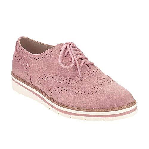 Zapatos Planos con Cordones Mujer Brogue Zapato Talón Plano Gamuza Colores Manera Tallas Grandes Botas Negro Rosa Gris Azul Marrón 35-43 Rosa 42