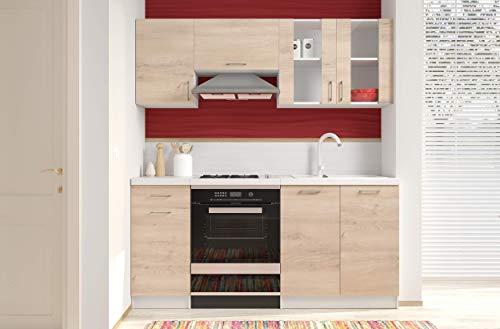 Arreditaly Cucina Componibile con Top Bianco Completa di Vetrina Mobili Pensili Sospesi e Mobili Base Cucinino Moderno in Laminato da 180 Cm da Incasso (Rovere Chiaro)