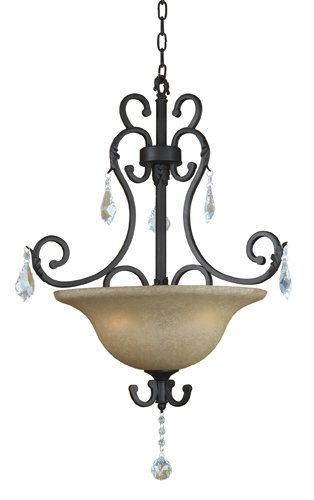 Yosemite Home Decor 83151-3SS Jessica Three Light Foyer Pendant with Egyptian Crystals and Brown Cyan Glass in Sierra Slate Finish, 27.5