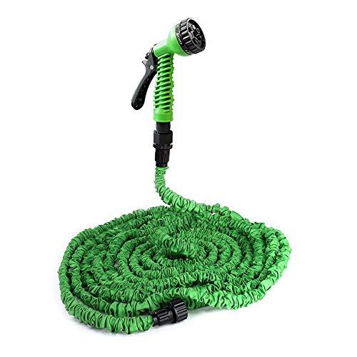 Manguera de jardín de 7,62 m y 30,52 m con conector de grifo mezclador, bolsa de almacenamiento para casa, coche, patio, lavado (verde, 15 m)