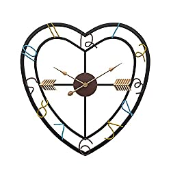 yaoyao Wall Clock 50Cm Large Metal Modern Design Creative Heart-Shaped Iron Art Silent Movement Bid Farewell to Mechanical Ticking Simple and Generous Stylish Durable
