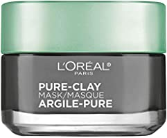 Clay Facial Mask, L'Oreal Paris Skincare Pure Clay Face Mask with Charcoal for Dull Skin to Detox & Brighten Skin, at...