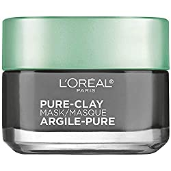 Clay Facial Mask, L'Oreal Paris Skincare Pure Clay Face Mask with Charcoal for Dull Skin to Detox &