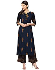 LIBAS Women Kurti with Palazzo Set | Ladies Top Kurta Kameez Salwar Suit Bottom Pant | Ethnic Indian Pakistani Party Dress | Casual Formal Traditional Wear