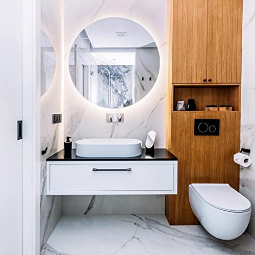 Espejo Redondo baño Modelo Palma (60 cm Redondo) con luz LED integrada de 28w. Luz Decorativa cálida (4000 K) de eficiencia energética A+. Espejo diseño, Ideal para baño o Cualquier Otra Estancia.
