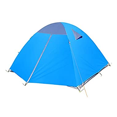 Techcell 3-4 Persons Double layer Waterproof Camping Tent Backpacking Hiking New (Blue)