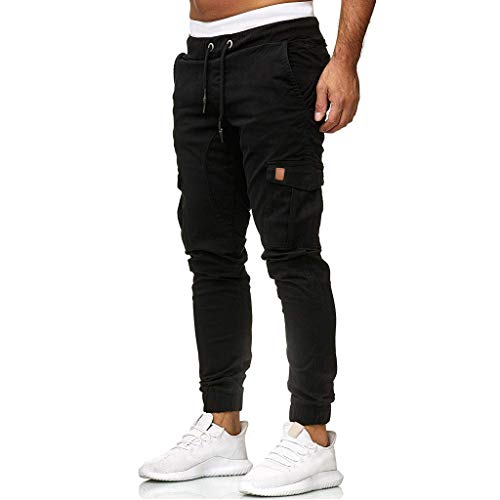 LIHAEI Herren Jogginghose Trainingshose | Sporthose | Herren Hose Jogger Chino Cargo Pants | Jeans | Skinny Fit | Freizeithose | (S, Schwarz)