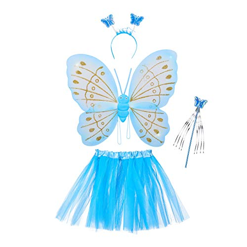 Relaxdays Disfraz Hada Niña, Alas Mariposa, Diadema, Varita Mágica y Falda Brillante, 40x52 cm, Poliéster-Plástico, Azul, color, 1 ud. (10027920_45) , color/modelo surtido